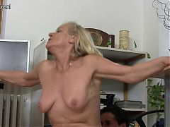 Old blonde granny fucks her young stud
