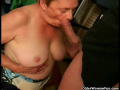 Grandma sucks a big cock
