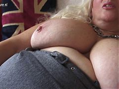 Amazing big breasted mama masturbating