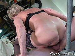 Horny grandma cum sprayed after hard doggystyle banging