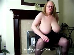 One of Sallys earlier videos, in see-through blouse
