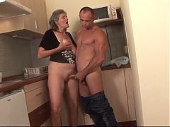 Hungarian granny Aliz gets fucked in the kitchen