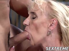 Pretty granny Nanney's mouth filled with cum from young cock