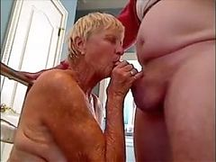Grandma gives blowjob to her hubby and gets cum on her breasts