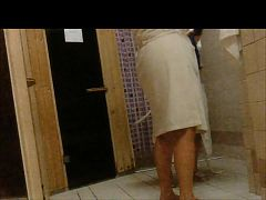 Shower and sauna with a sexy 67-year-old mom.