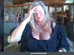 Granny vamp woman shows delicious boobs
