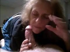 Grandma gives blowjob and gets cum in her mouth